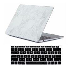 Funda de mármol mate y cubierta de teclado para nuevo Macbook Air 13 pulgadas, 2018 de liberación A1932 con pantalla Retina y ID táctil