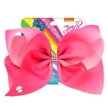JOJO siwa 8 Inch Large Hair Bow Colorfurl Handmade Ribbon  With Rhinestone Alligator Clips For Baby Girls