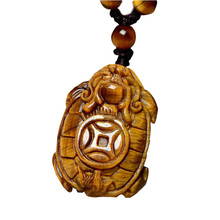 Drop Shipping Tigers Eye Stone Pendant Hand Carved Money Turtle Necklace With Chain Lucky Amulet Fine Jewelry Gift born lucky money hangs on the authentic burma stone ruyi fall bat 1