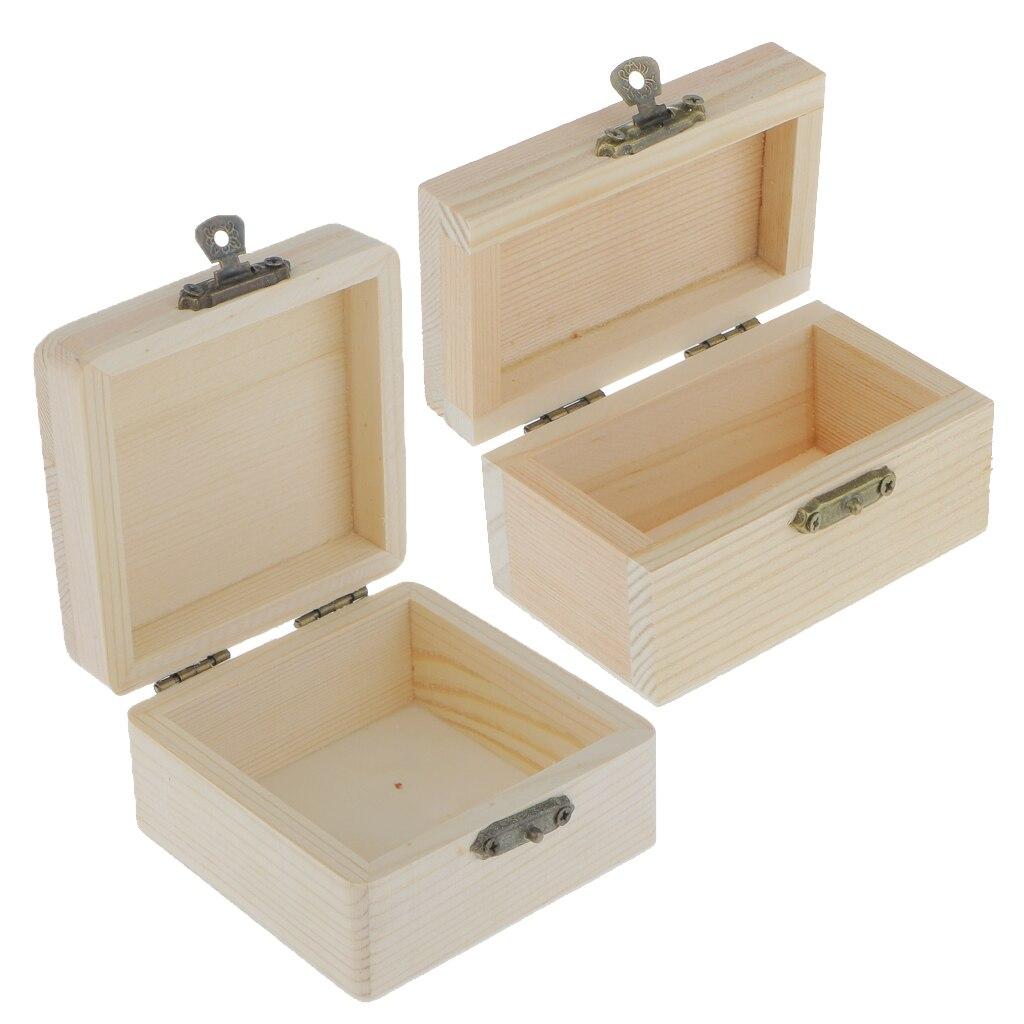 2pcs Wood Box Unfinished Pine Storage Vintage Gift Box Decoupage Purse Craft
