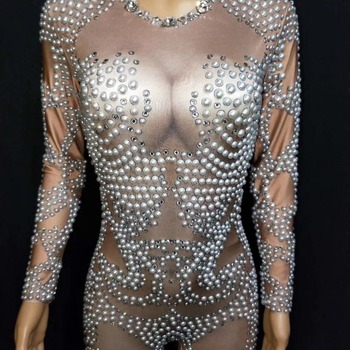 DJ Costume pole dance clothing Pearl stretch Rhinestone Bodysuit conjoined adult  Stage Costumes Nightclub DS Jumpsuit DJ1007