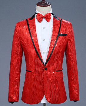 New Arrival Lucky Red Sequined Men's Suit Jacket for the Show Coat Long Sleeve Peaked Collar Men Blazer for Party Groom