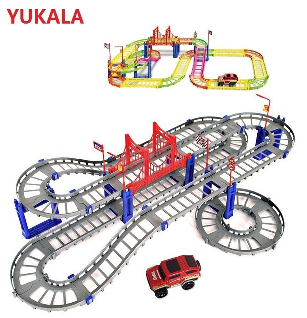 DIY 3D Electric Racing rail car for kids  baby Railway Track Racing Road Transportation Building Slot Sets with color box 88pcs
