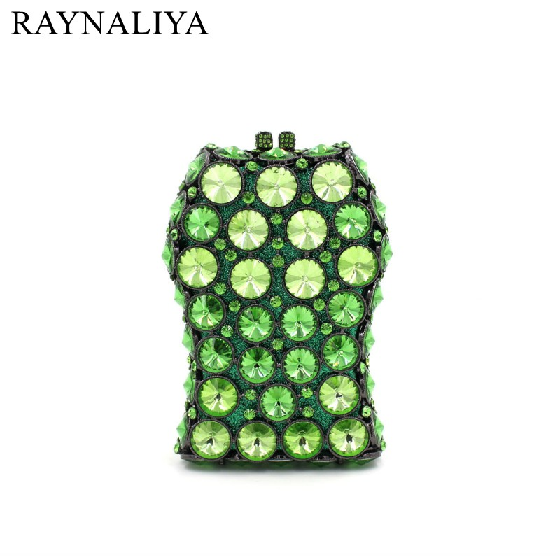 Green Emerald Luxury Crystals 2017 Women Evening Bags Designer Clutches Handbag Bridal Diamond Wedding Clutch Bag SMYZH-E0039 emerald