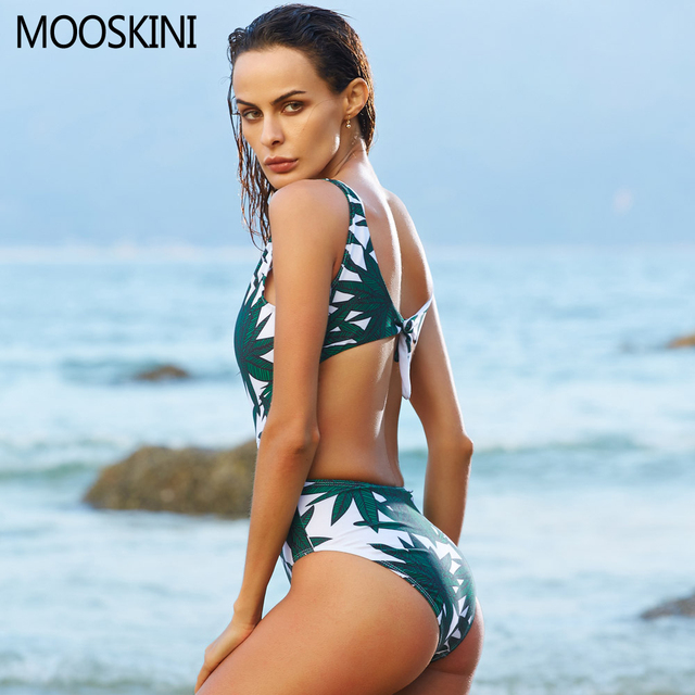 Leaf Printed One Piece Swimsuit