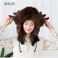 QPALCR Russian Bomber Hats Women Winter Warm Faux Fur Cap Snow Ski Hat Aviatorp Girl Lovely Cartoon Animal Caps