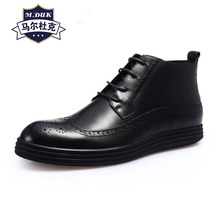 Bullock carved real leather mens business casual high-top shoes British lace-up all-match cowhide cashmere zipper snow boots men
