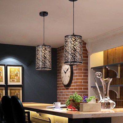 Intoxicated dining room bedroom bar simple LED single head pendant light  European modern industrial retro2017  zcl modern simple european style dining room lighting american hollow carved iron bedroom pendant lights