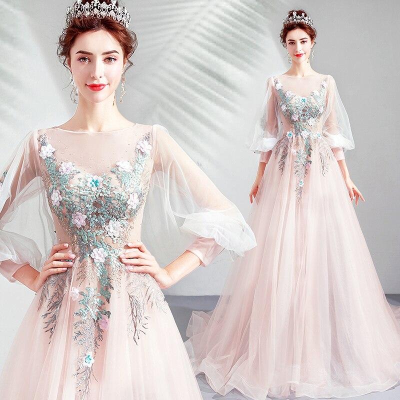 Appliques   evening     dress   2019 new design pink soft pink party gown golden bead prom   dress   lace up formal   dress   vestido de noiva