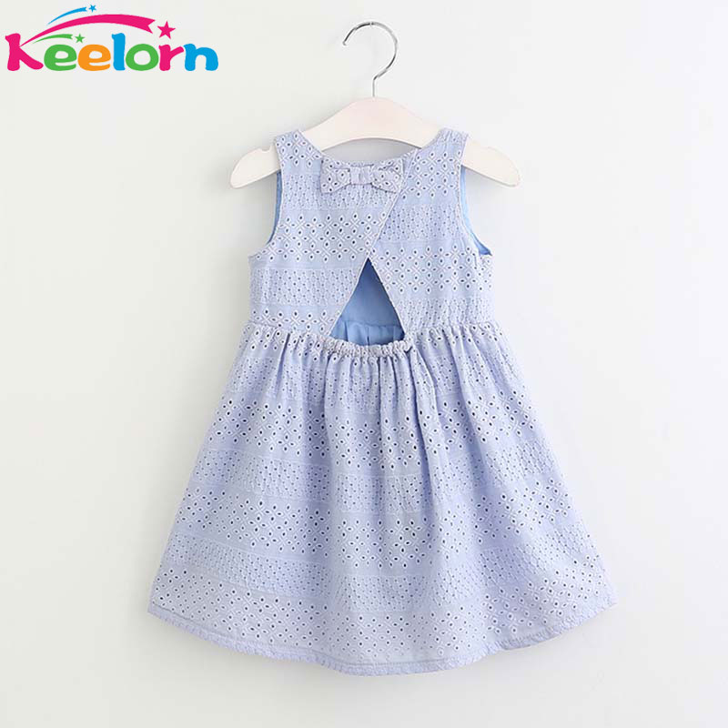Keelorn Girls Dress 2017 New Summer Style Kids Princess Dress Cute Bow Design for Girls 3-8Y Children Clothes keelorn autumn girls dress 2017 new casual style girls clothes long sleeve striped mesh design dress for kids clothes 3 7y