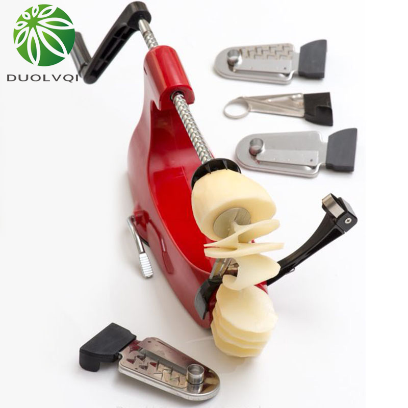 Duolvqi Mutifuctional Vegetable Cutter Fruit Knife Stainless steel Hand type Potato Silicer Home Kitchen Accessories