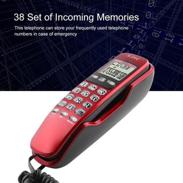 KX-T888CID جدار صغير الهاتف الوارد المزدوج المتصل ID شاشة الكريستال السائل الهاتف الثابت للمنزل مكتب فندق أسود أحمر telefone 1