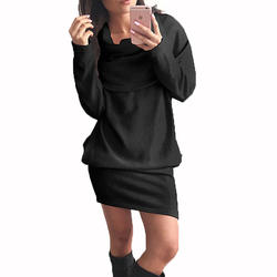 Сексуальный женский длинный свитер шарф шея длинный рукав облегающий лацкан свитер вязаный мини Vestidos женские пуловеры трикотаж