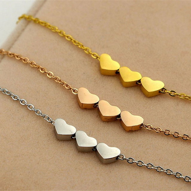 VelishyThree Hearts Pendant Necklaces For Woman Cute Rose Gold Color