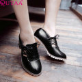 QUTAA 2015 Women Pumps Square High Heels Shoes High Quality PU Leather Round Toe Fashion ladies Oxford shoes Size 34-43