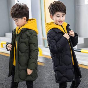 Image 1 - בני כותנה מעיל 2019 ילדים חדשים של גברים של החורף למטה מעיל כותנה ילד גדול ילד מזויף שתי כותנה מעיל עבה מעיל
