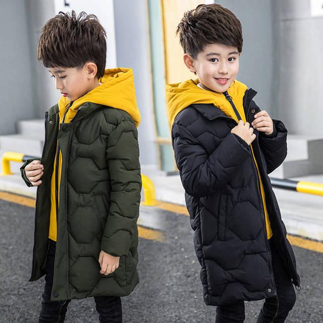 Boys cotton coat 2019 new childrens mens winter down jacket cotton child big child fake two cotton jacket thick coat