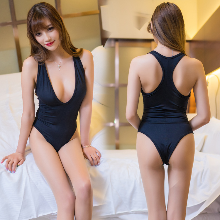 Sexy Women Deep V Neck High Cut Bodysuit Thong Swimsuit Black Jumpsuit Bodycon Erotic Li ...