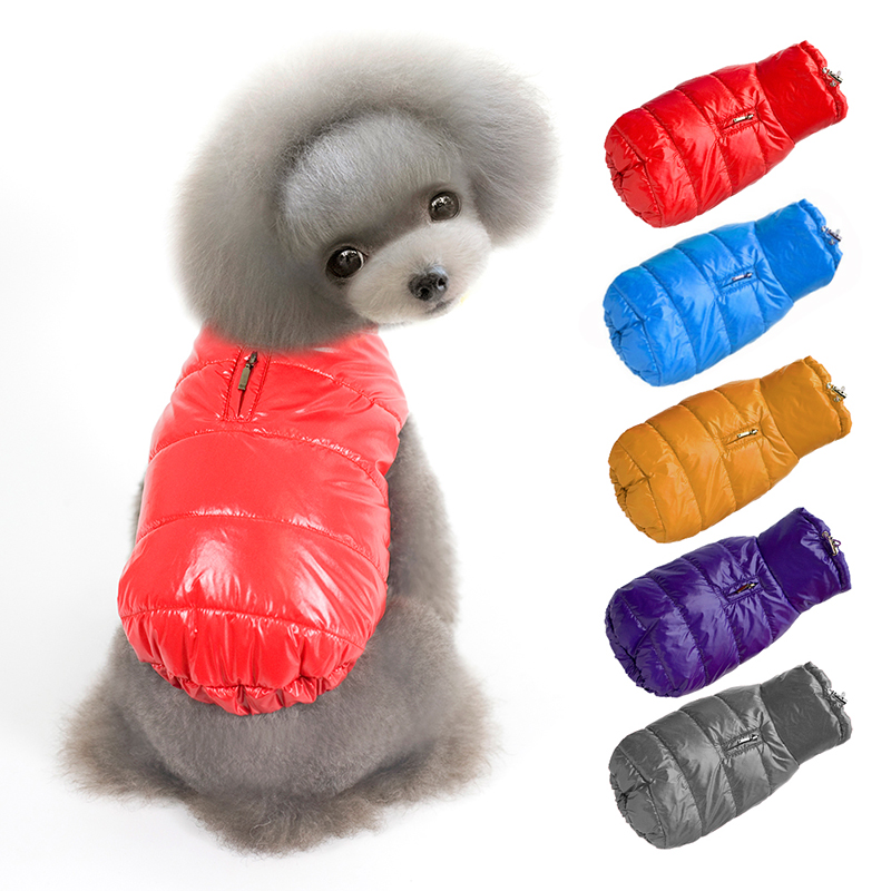 2016 Hot Candy Color Cute Puppy Pet Dog Clothes Winter Waterproof Padded Warm Vest for Cats Dogs Zipper Dog Coat Jacket Costumes