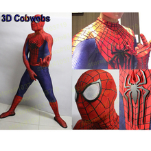 Hero Catcher High Quality 3D Cobwebs Amazing Spiderman Costume Super Hero Spiderman Adult Costume Spandex Fullbody Suit