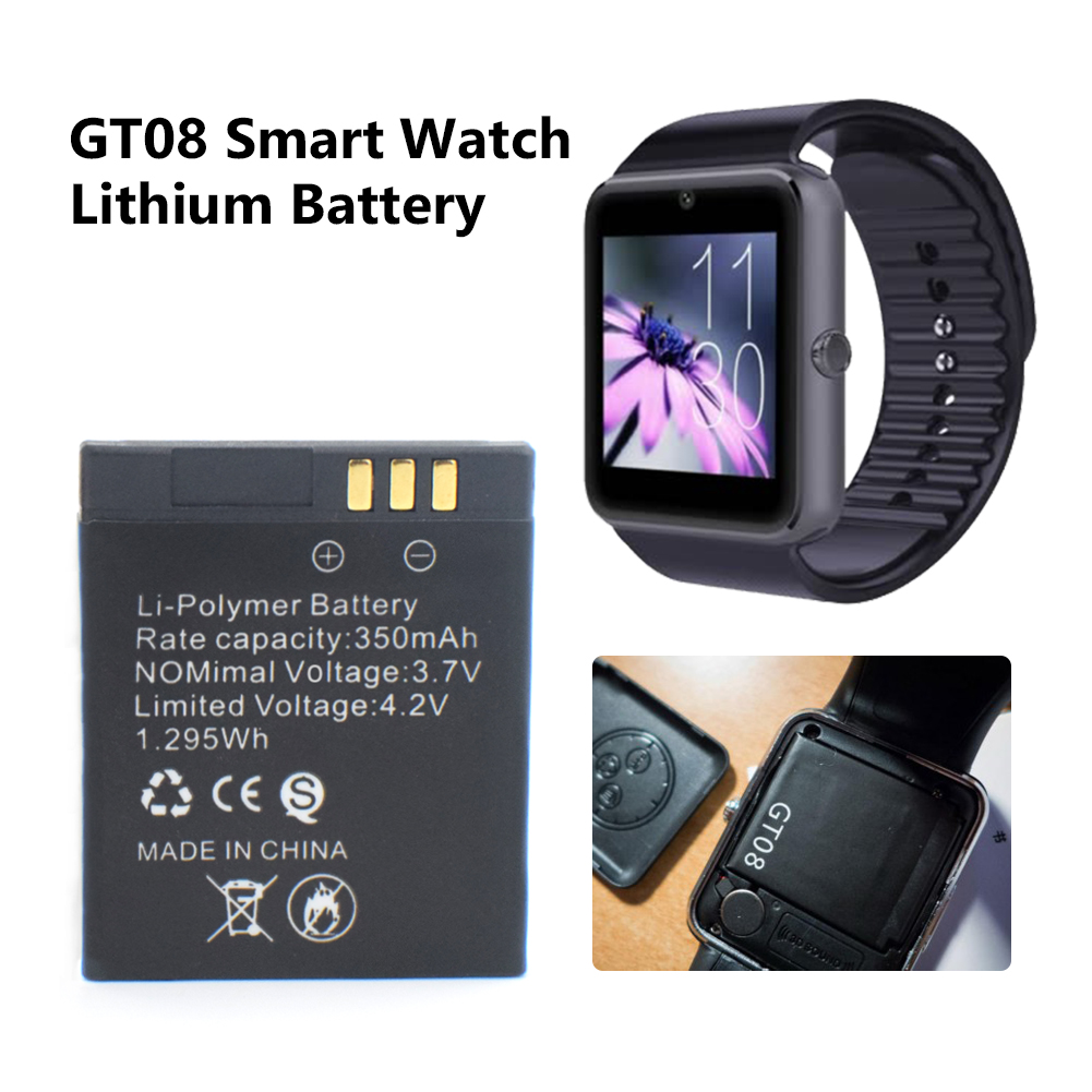 1 Piece 350mah Rechargeable Li-po Li Ion Lithium Smartwatch Battery Stable Power Supply Battery Replacement For GT08 Smart Watch