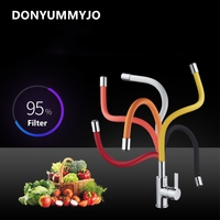 DONYUMMYJO Brass Finished Kitchen Sink Faucet Deck Mount Pull Out Sprayer Nozzle Hot And Cold Mixer Water Taps torneira cozinha