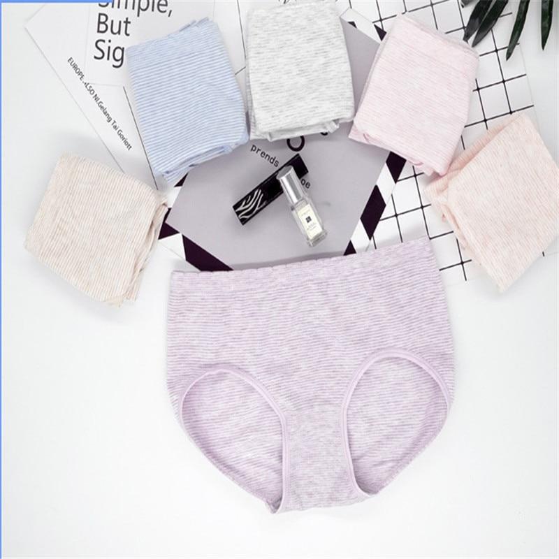 100pcs/2019 New Women Panties Fresh Middle Waist Pure Cotton Underwear