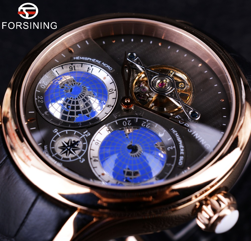 Forsining 2016 Earth Real Tourbillion Multi-dimensional Designer Mens Watches Top Brand Luxury Fashion Casual Automatic Watch