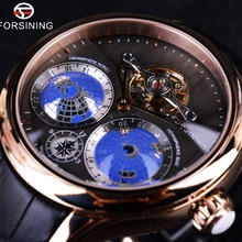 Forsining 2016 Earth Real Tourbillion Multi-dimensional Designer Mens Watches To