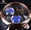 Forsining 2016 Terra Verdadeiro Turbilhão Multi-dimensional Designer Mens Relógios Top Marca de Luxo Moda Casual Relógio Automático