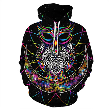 Women Men 3D Printed Hoodies Galaxy Moon Owl Art Monkey Clown Paint Plum Blossom Gun Brand Sweatshirt Hooded With Pocket Tops