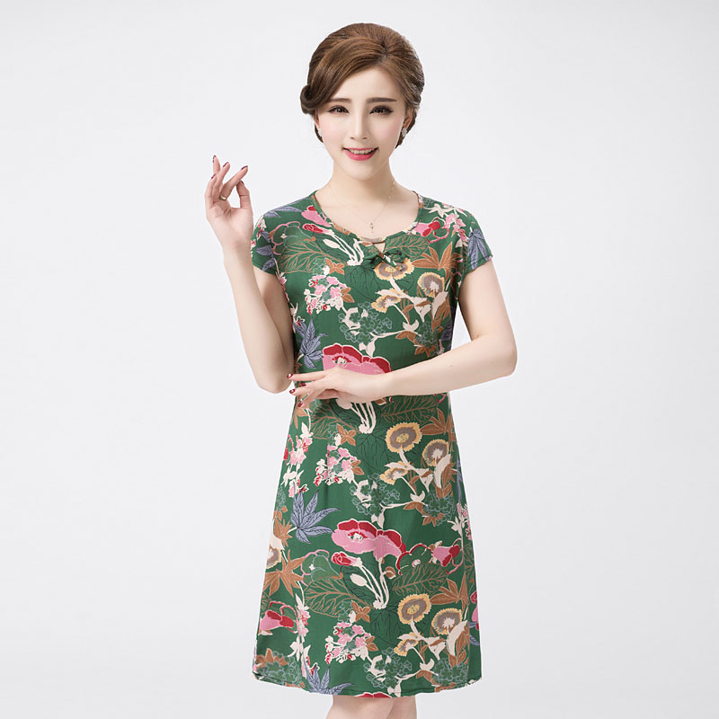 d60853d6a9380 Aliexpress.com : Buy 2017 Women's Summer Dress Cotton Plus size 3XL Knee  Length A line Loose Floral Printed Casual Dress Women QH0123 from Reliable  ...