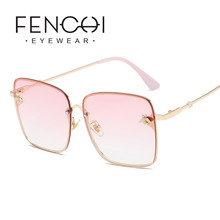 2019 Vintage Pink Oversized Square Bee Sunglasses Women Men Zonnebril Dames