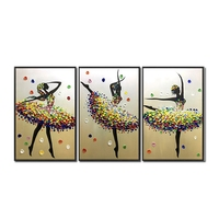 No Framed Abstract art modern dancer ballet girls Oil Paintings on Canvas 3pcs home Decor Wall Art picture for living room