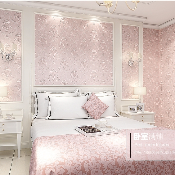 High Quality Modern Continental 3D Stereoscopic Relief Nonwoven Wallpaper Pink Bedroom  Living Room Wallpaper Background Light Blue
