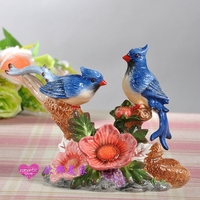 blue ceramic Magpie birds statue home decor vintage ornament crafts room decoration porcelain animal figurines wedding gifts