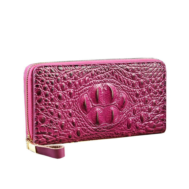 Women's long zipper wallet 2018 new high quality crocodile pattern split leather purse fashion card holder ladies day clutches