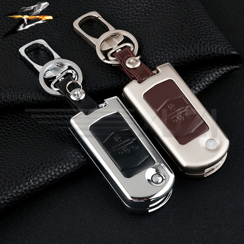 Zinc alloy Leather Flip Car Key Cover Case 2/3 Buttons Key Holder for MAZDA 2 3 6 M2 M3 M5 M6 CX-5 Car Folding Key Keychain image