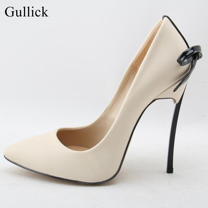 Gullick Sexy Blade Heels Bowtie Pumps Pointed Toe White Leather Wedding Dress Shoes For Women Cut-out Slip-on Spring Shoes newest flock blade heels shoes 2018 pointed toe slip on women platform pumps sexy metal heels wedding party dress shoes