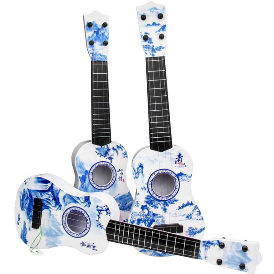 Дети 4 Strings Music гитара Музыкальные инструменты Обучающие игрушки в китайском стиле синий и белый фарфор игрушки Детский подарок ...
