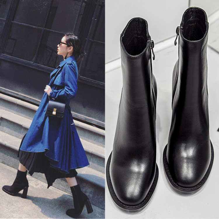 2018 women new high chunky heel round toe leather short boots female fashion side zipper cow leather Chelsea boots 2018 fashion cow leather zipper superstar winter boots women round toe low heel solid concise pregnant chelsea ankle boots l08