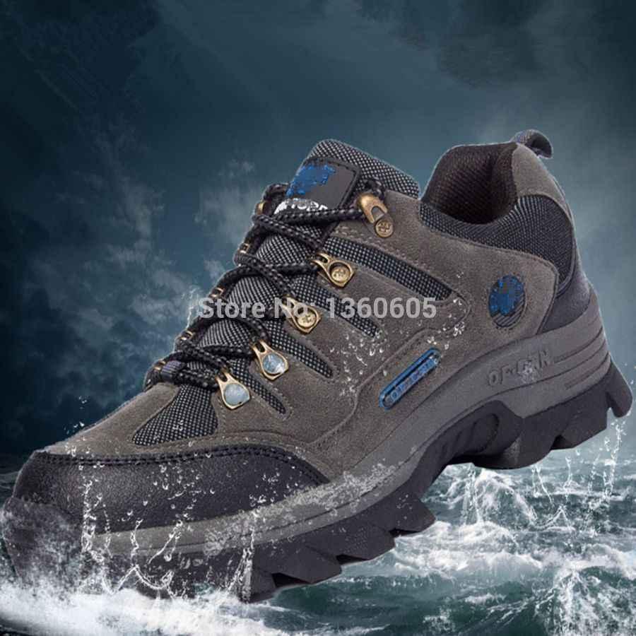 Уличная походная обувь; мужские треккинговые дышащие кожаные брендовые водонепроницаемые кроссовки для спортивной охоты; зимние ботинки; большие размеры