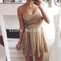 Simple Gold Sequin Sweetheart Strapless Mini Cocktail Party Dress