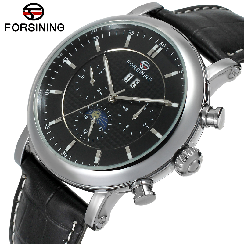 FSG553M3S2 Automatic men dress watch with moon phase new arrival black genuine leather strap free shipping with gift box цена