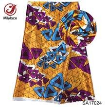 Stretch Satin material African wax Nigeria design fabric Digital print satin SA17024