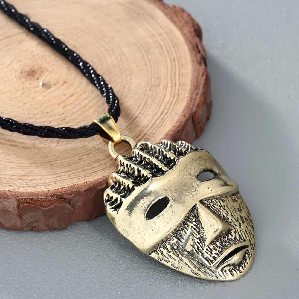 Chengxun Celtic Pagan Viking Pria Masker Rantai Kalung Liontin Tali Hitam Jimat Vegvisir Skandinavia Norse Hadiah
