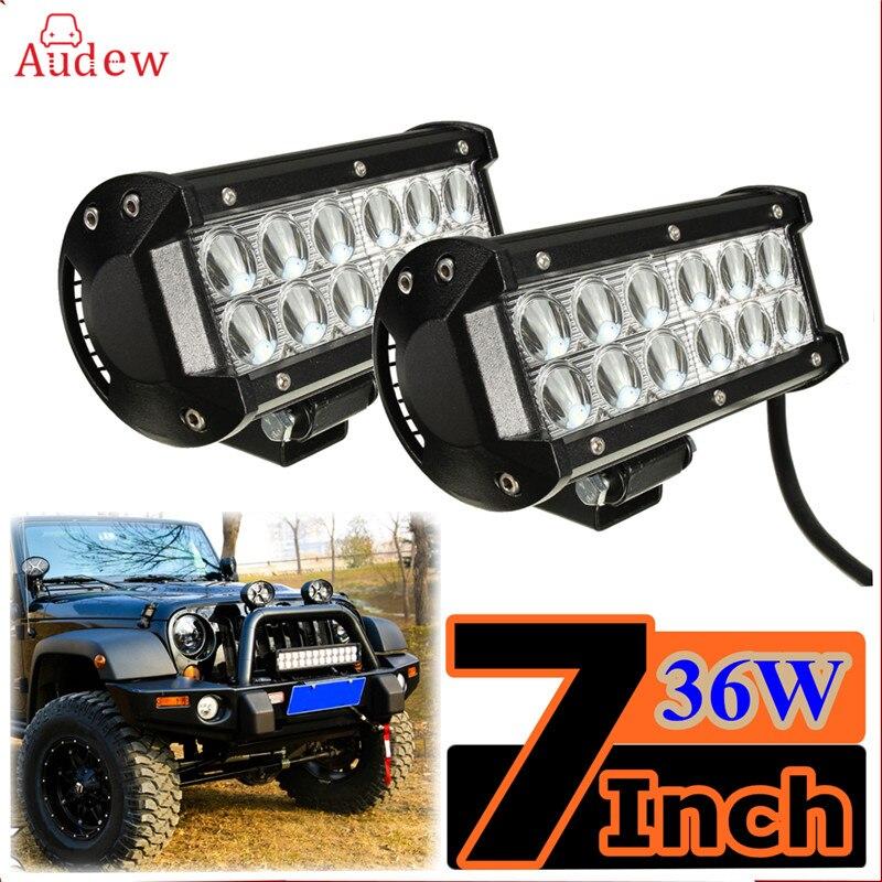 1Pcs 7 Inch Universal 36W LED Work Light Lamp Bar Spotlight Fit For Motorcycle Spot Flood Offroad Ute ATV UTE SUV 12V 24V