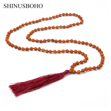 SHINUSBOHO Classical Necklace Men Women Rudraksha Beads Knotted Rope Indonesia Strand Femme Prayer Tassel Long Kolye