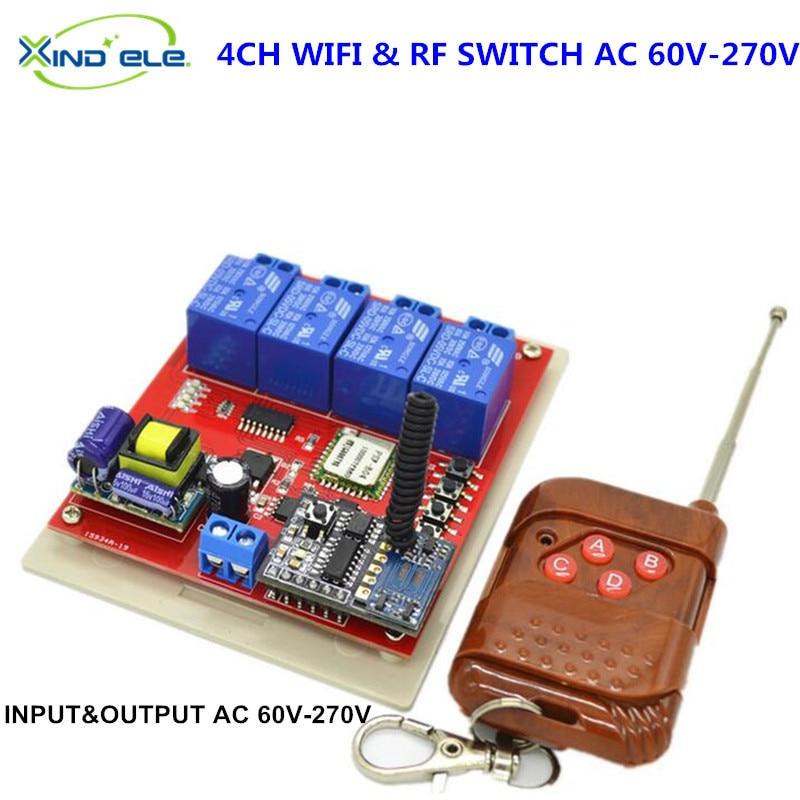 AC 110V WIFI Switch Relay 4CH 220V 250V Output Module Control by APP RF 433mhz Wireless Remote Light switch for Home Smart 2017 new digital remote control switch 220v wifi light schakelaar 4 way 110v 250v ac input 10a rf 433 92 mhz controler