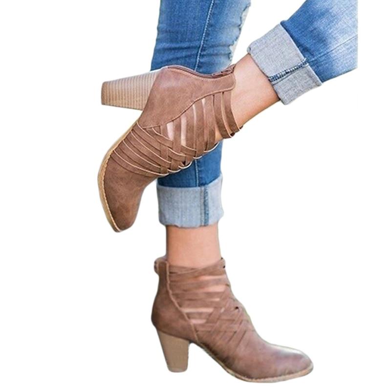 2018 Di Autunno Della Molla Delle Donne Stivali Scava Fuori Di Alta-tacco Alto Stivaletti Alla Caviglia Di Moda Scarpe Da Donna Sandali Femminili Botas Mujer